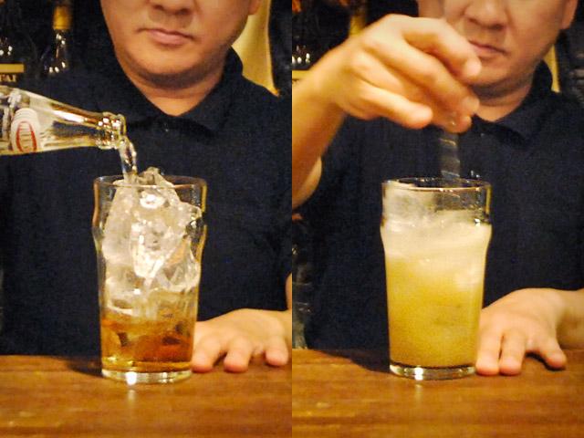 おすすめハイボール作り方グラスの底を叩く